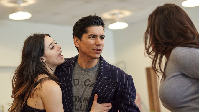 "Jeanine Mason and Jeremy Ray Valdez during rehearsal for the revival of ""Zoot Suit."" Credit Brad Torchia for The New York Times"
