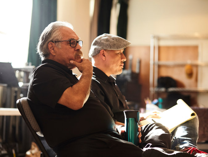 "The ""Zoot Suit"" director Luis Valdez, left, and the associate director, Kinan Valdez. Credit Brad Torchia for The New York Times"