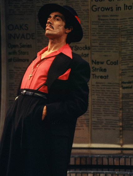 """Edward James Olmos in the world premiere of """"Zoot Suit"""" in 1978 at the Mark Taper Forum. Credit Jay Thompson, via Center Theater Group"""