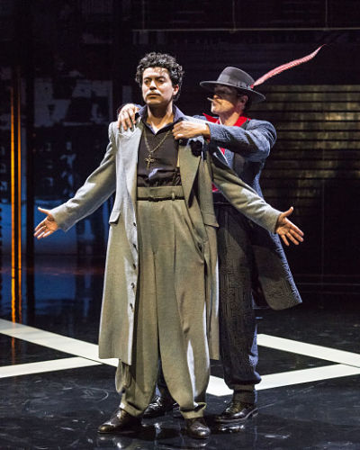 "Matias Ponce and Demian Bichir in ""Zoot Suit."" (Photo by Craig Schwartz)"